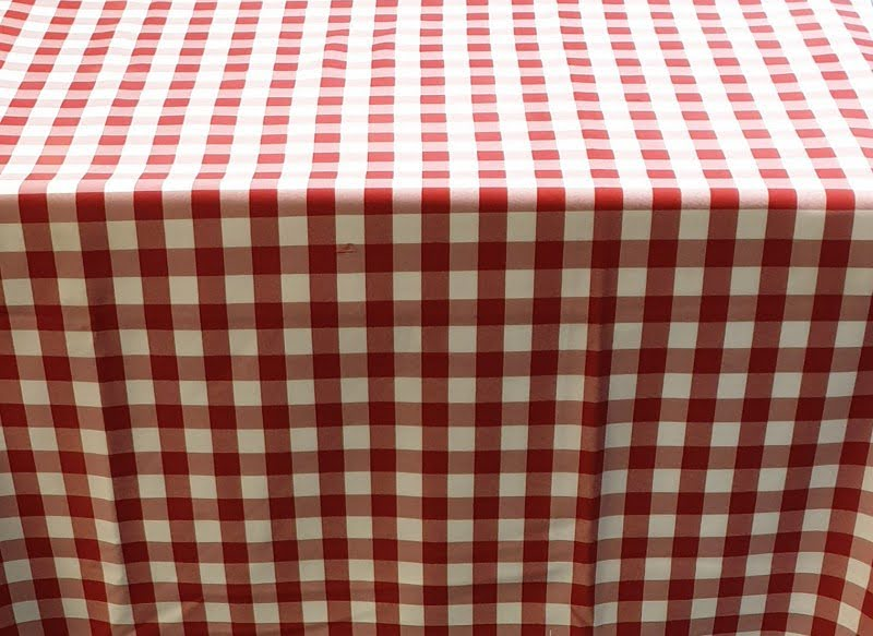 Kockás abrosz, kockás táblaabrosz, kockás teritő piros fehér kockás abrosz 140*140 cm