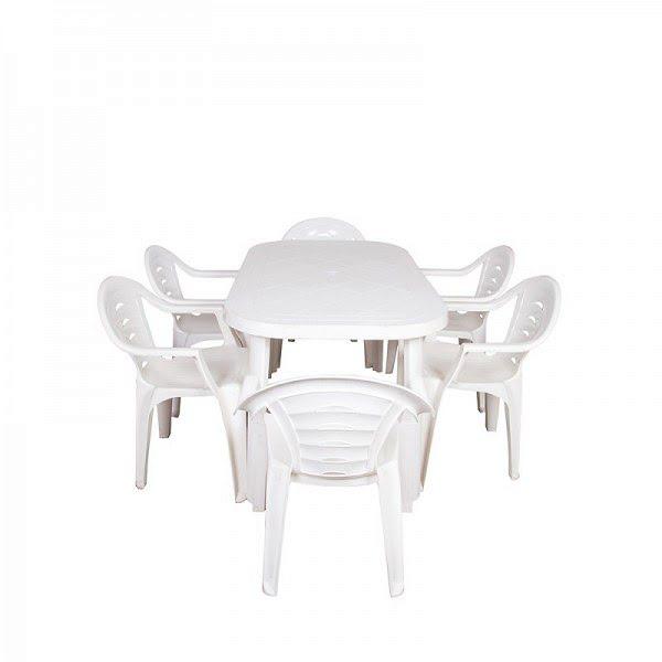 Flair garnitúra, műanyag garnitúra, kerti garnitúra (1 asztal + 6 szék)