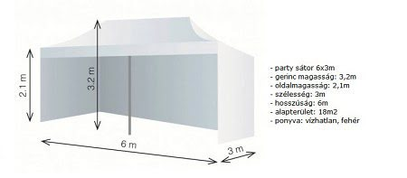 Party sátor, aluvázas sátor, rendezvény sátor 6*3 m