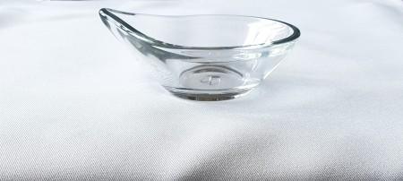 Finger food kínáló kerek előételes üveg tálka  4*10 Ø