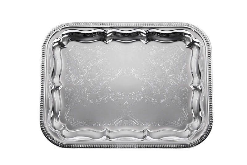 Süteményes tálca szögletes, szögletes ezüst tálca