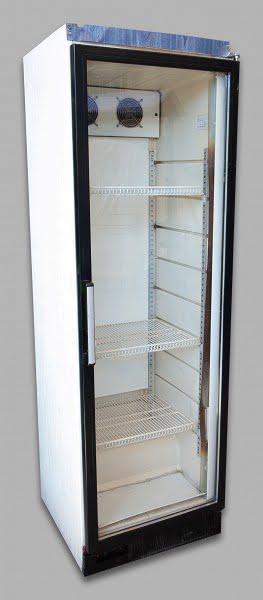 Üvegajtós álló hűtő 380 literes