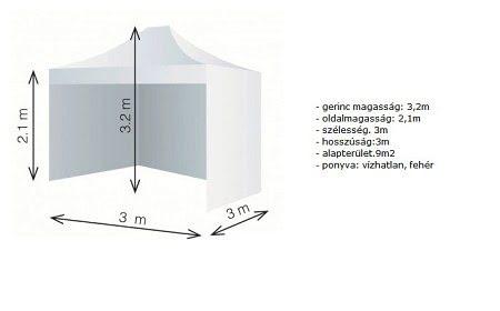 Party sátor, aluvázas sátor, rendezvény sátor 3*3 m